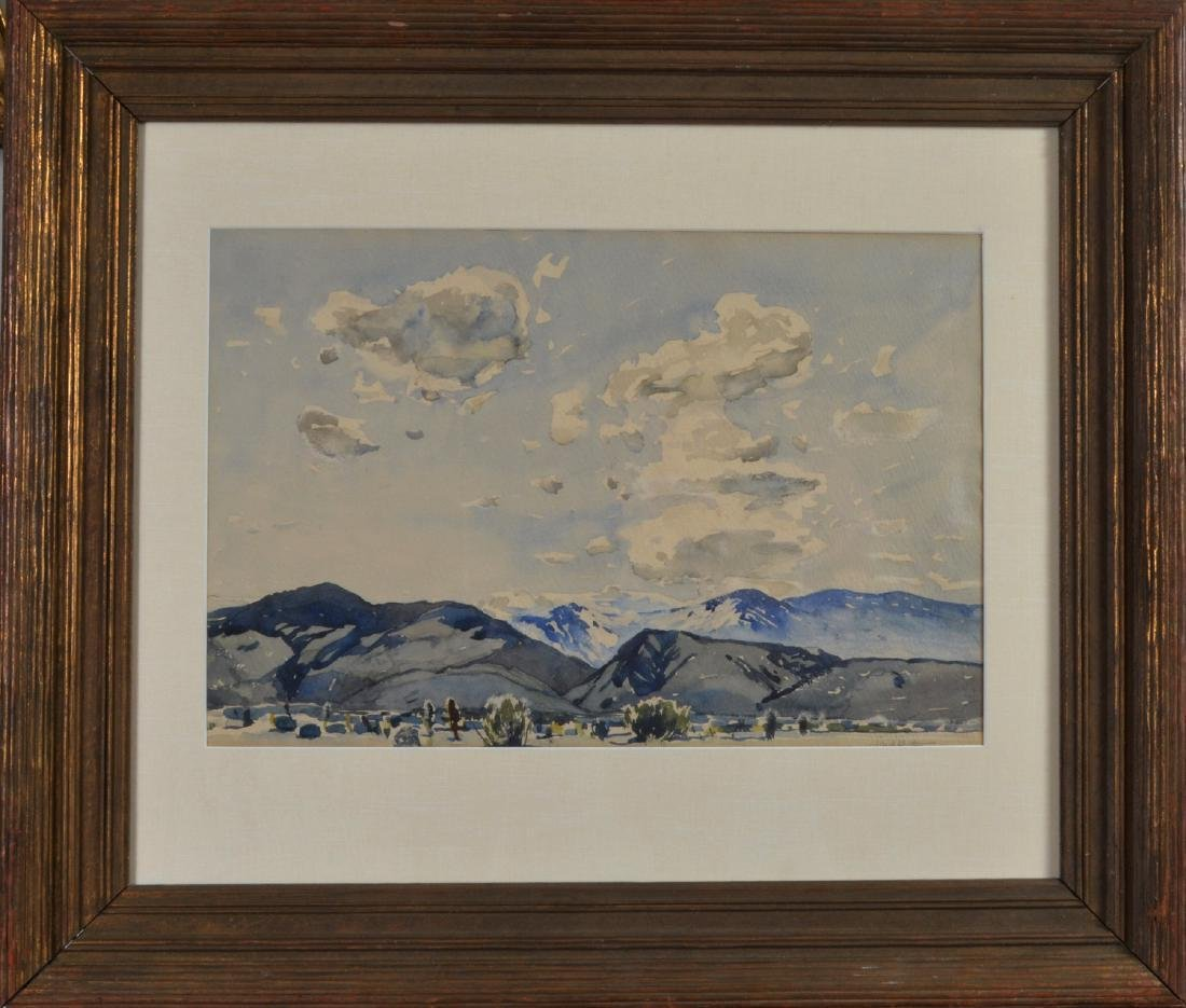 Millard Sheets Distant Hills Water color signed