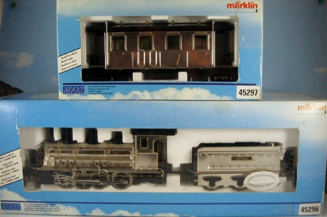 Märklin Maxi  45296/ 45297- Polished Metal  Steam - 18