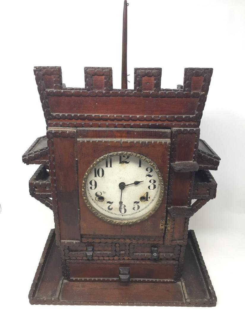Tramp Art Clock With Hearts and Finial