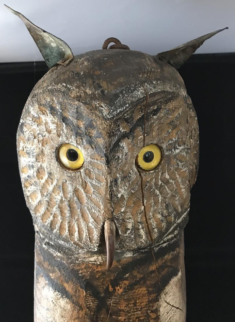 Folksy owl carving; tin tail and ears glass eyes-chain - 2