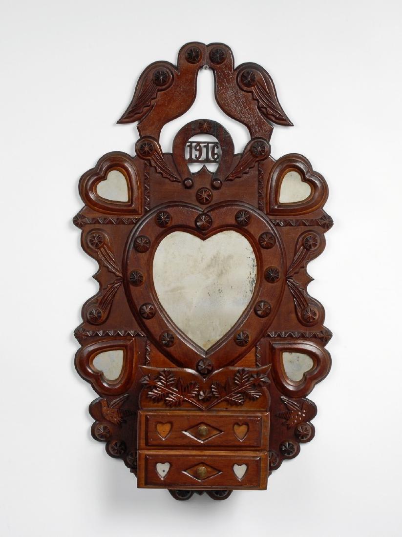 Tramp Art Kissing Doves Heart Wall Pocket John Zadzora