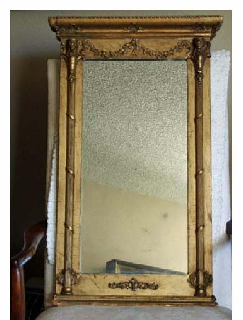 Antique Mirror With Gold Leaf Frame 19th Century