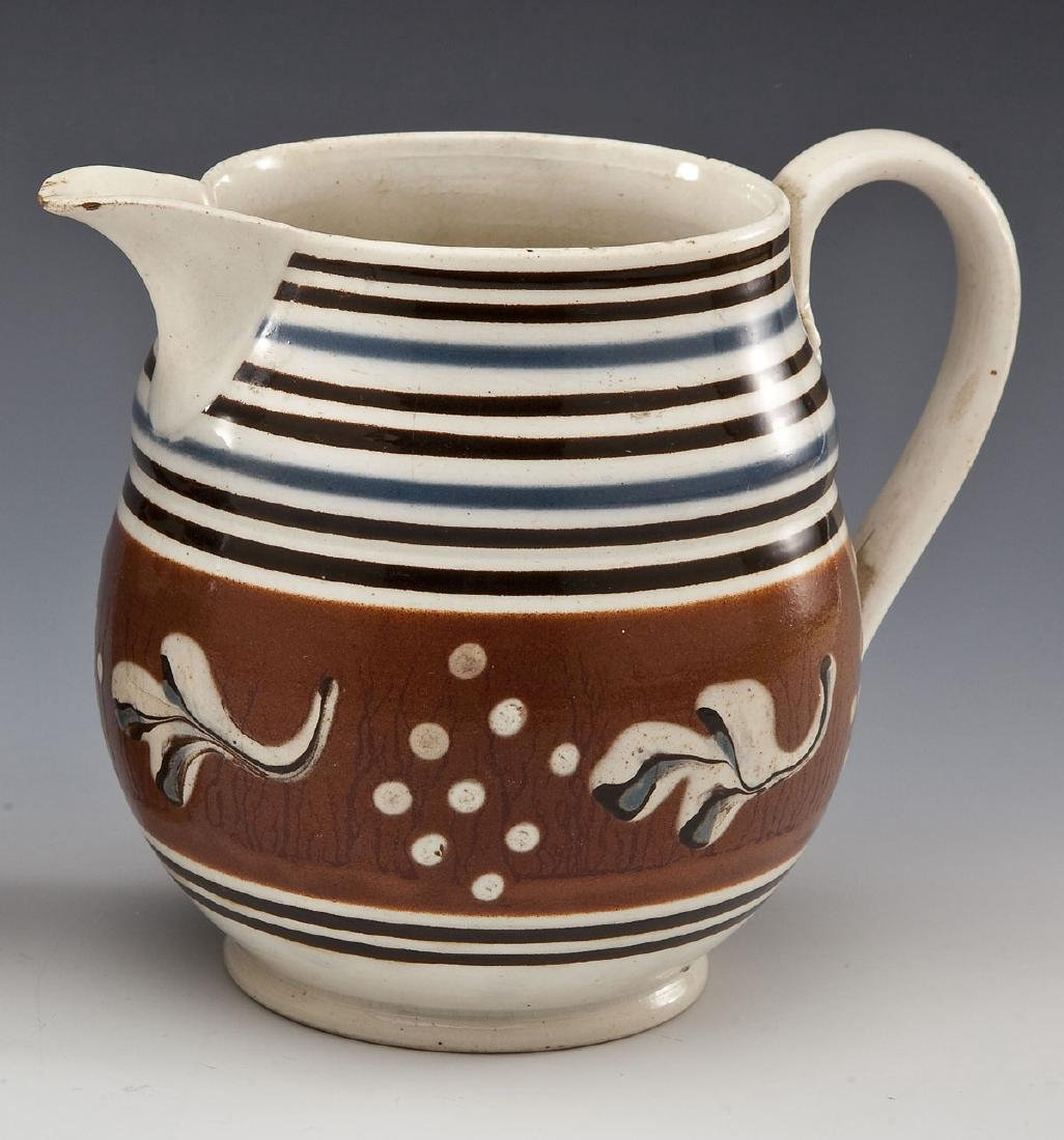 English Creamware Pitcher with unusual Sprig and Dot
