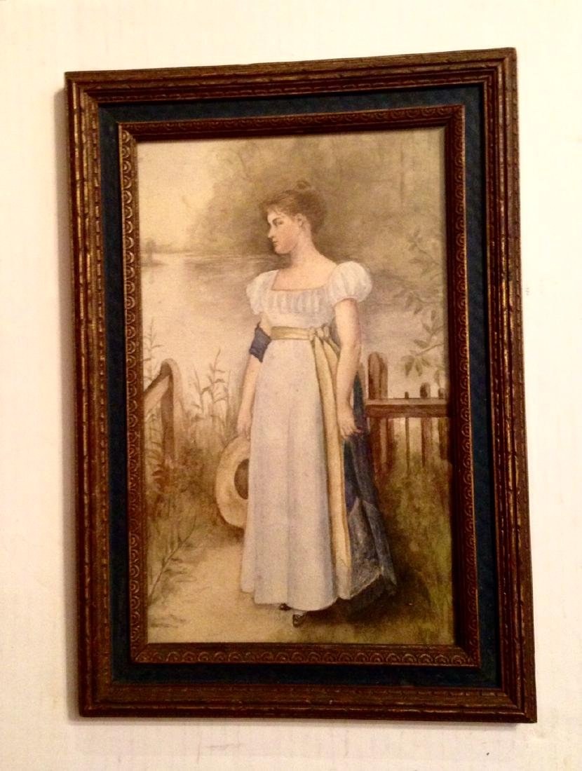 Late 19thc Original Watercolor in an Early 20thc Frame.