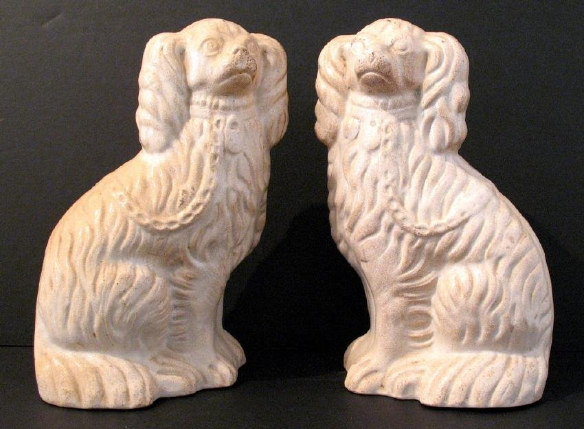Vintage Pair of American Pottery Dogs