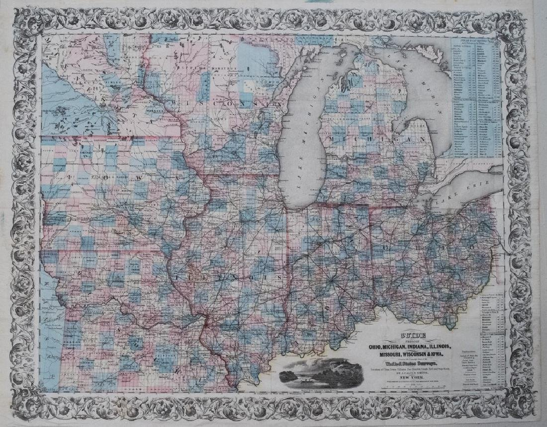 1855 Smith Map of the MidWest -- Guide through Ohio,