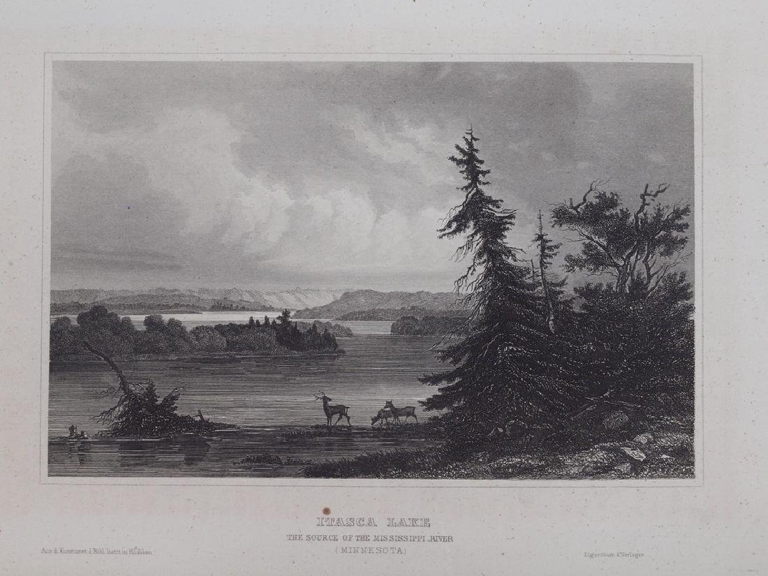View of Itasca Lake in Minnesota 1850 Steel etching