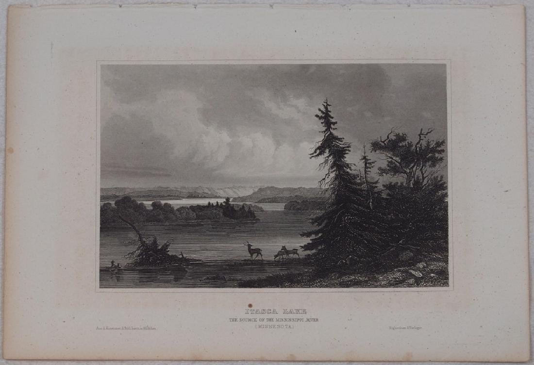 View of Itasca Lake in Minnesota 1850 Steel etching - 2