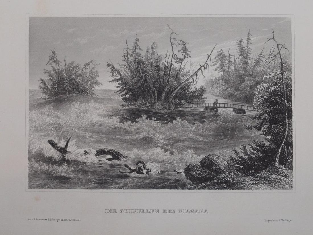 View of Niagara 1860 Steel etching