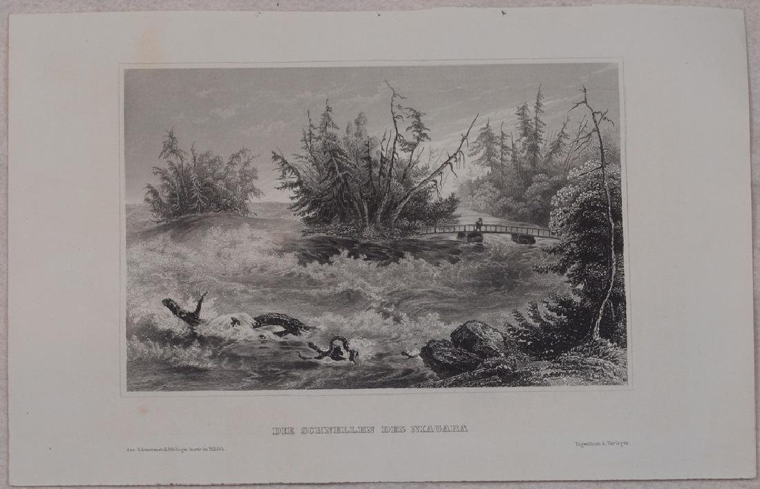 View of Niagara 1860 Steel etching - 2