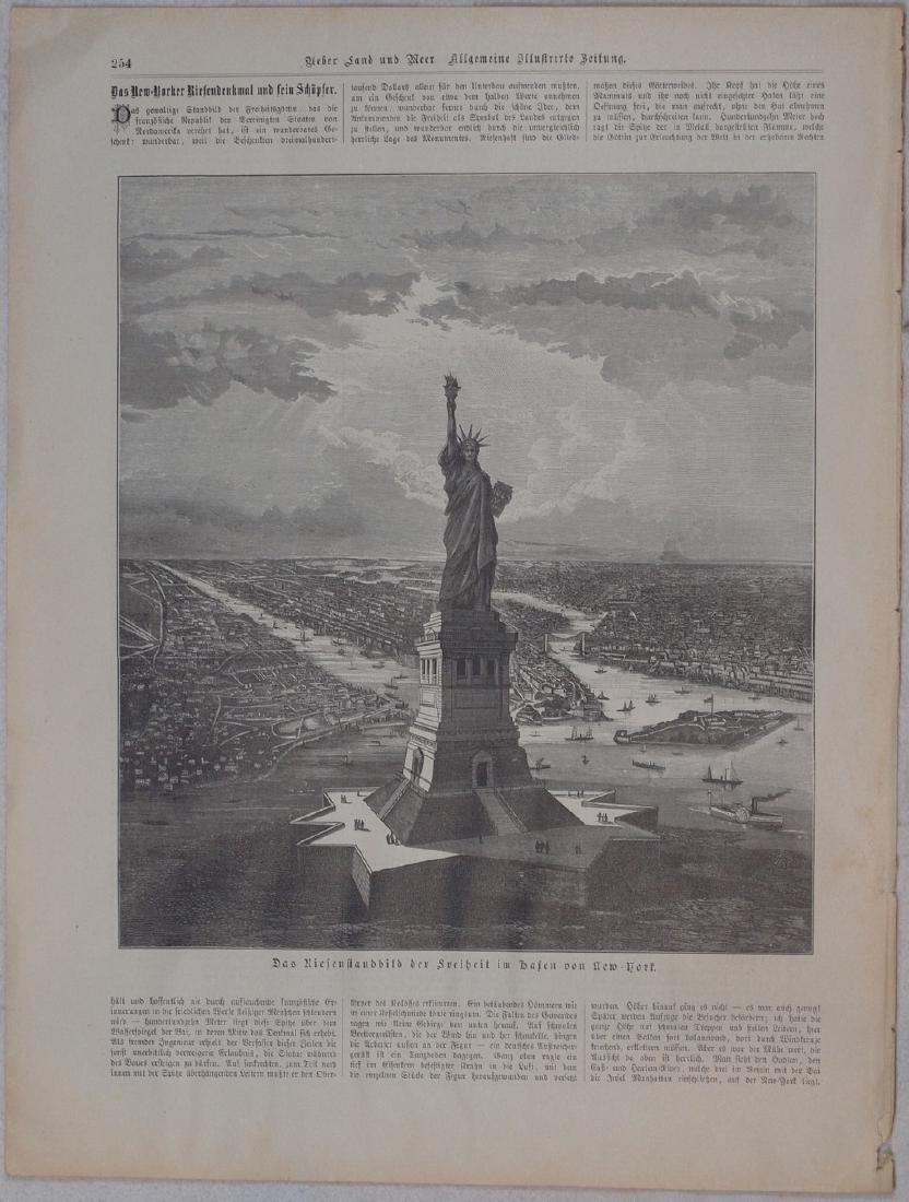 Print showing the Statue of Freedom 1880 Steel etching