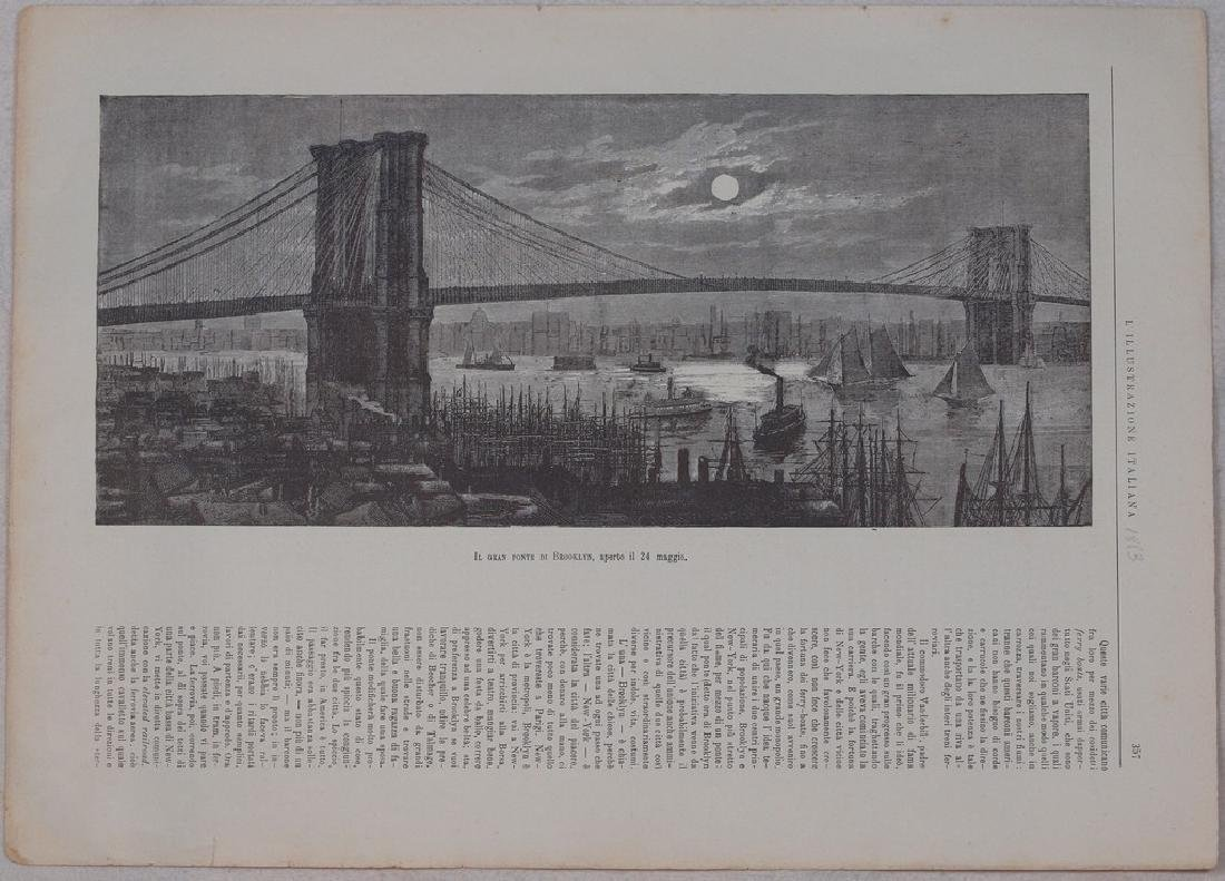 Print about the opening of Bridge of Brooklyn 1883