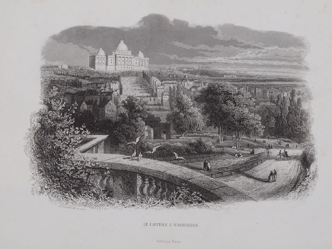View of Washington city 1870 Steel etching