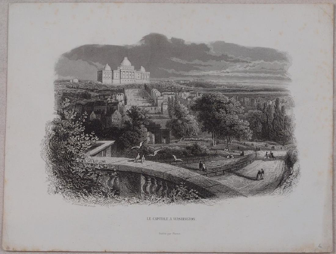 View of Washington city 1870 Steel etching - 2
