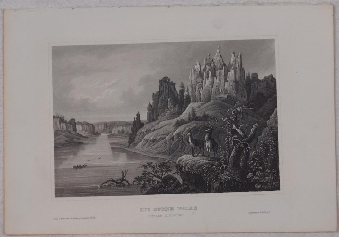 View of Missouri 1850 Steel etching - 2