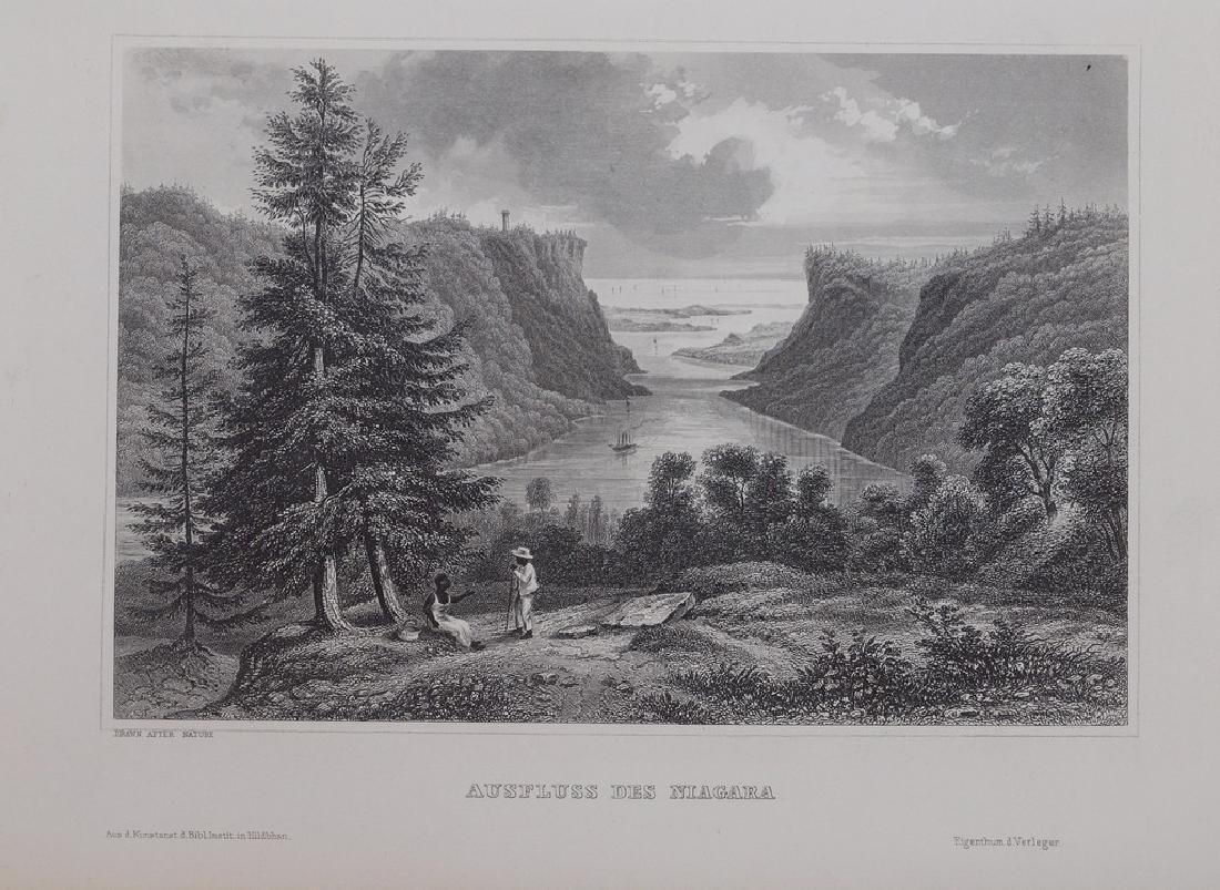 View of Niagara 1860 Steel etching