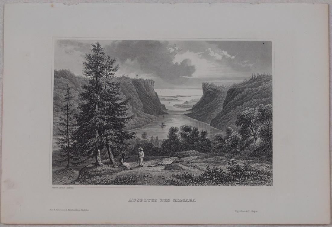 View of Niagara 1860 Steel etching - 2