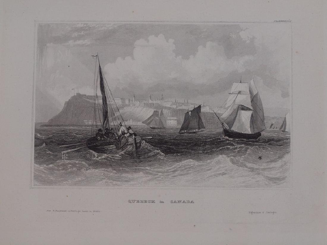 View of Quebec in Canada 1860 Steel etching