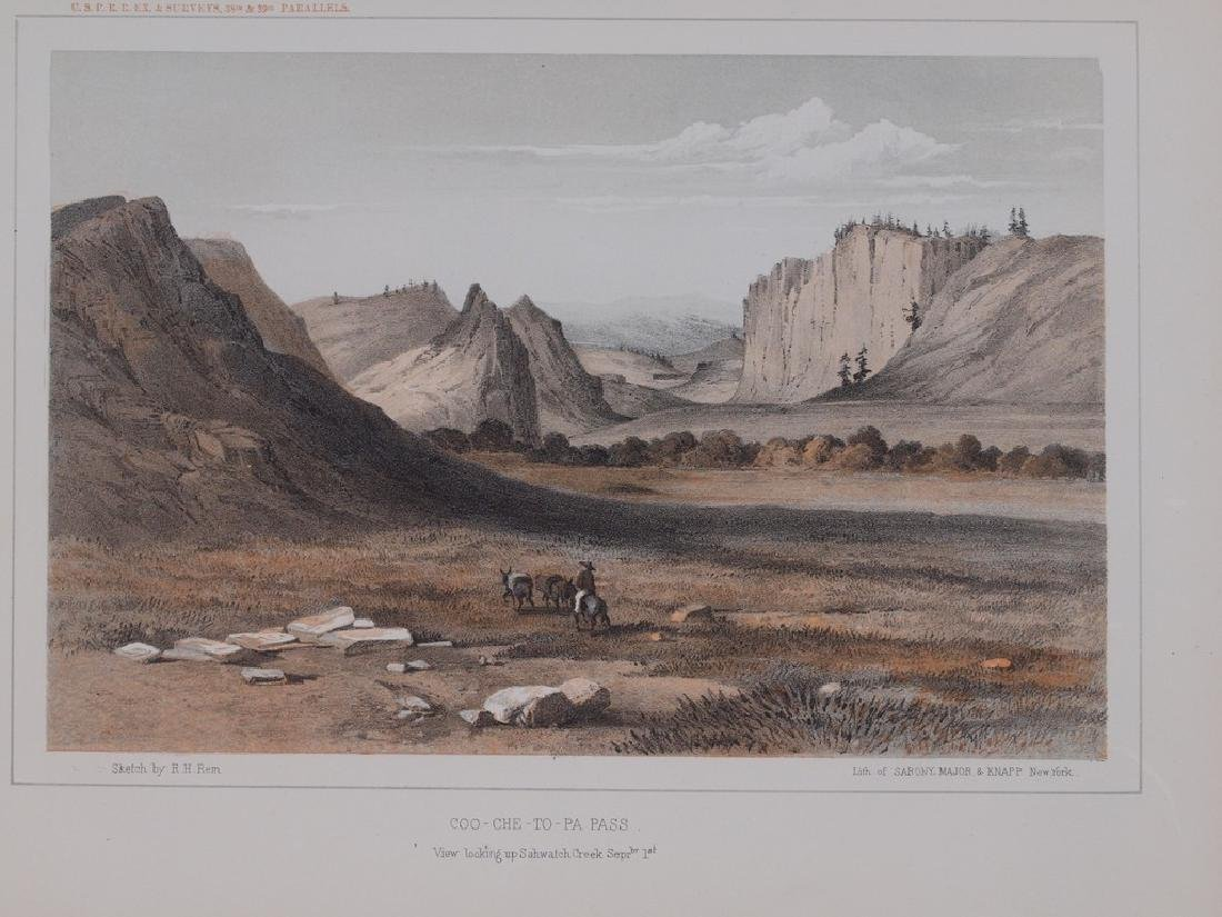 View of Coo Che To Pa Pass in Colorado 1860 Lithography