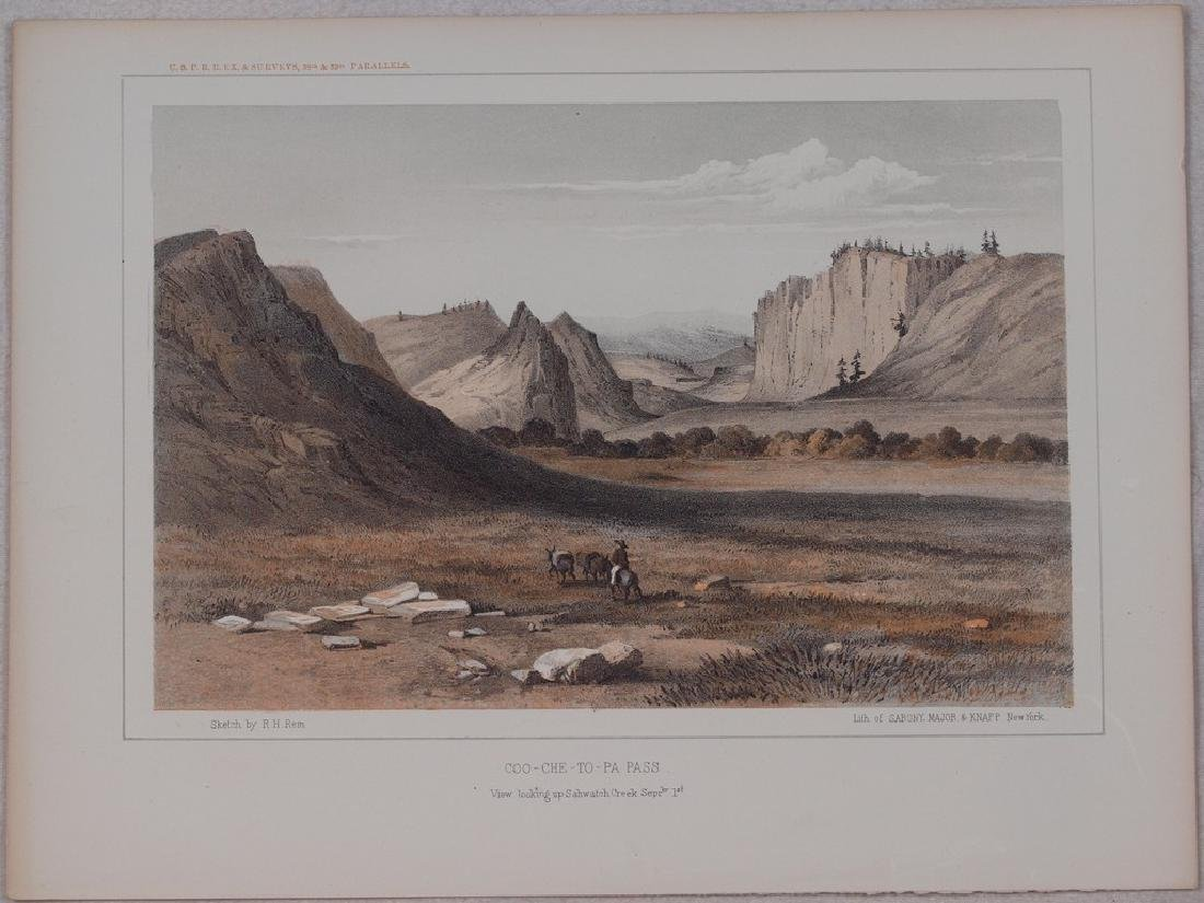View of Coo Che To Pa Pass in Colorado 1860 Lithography - 2