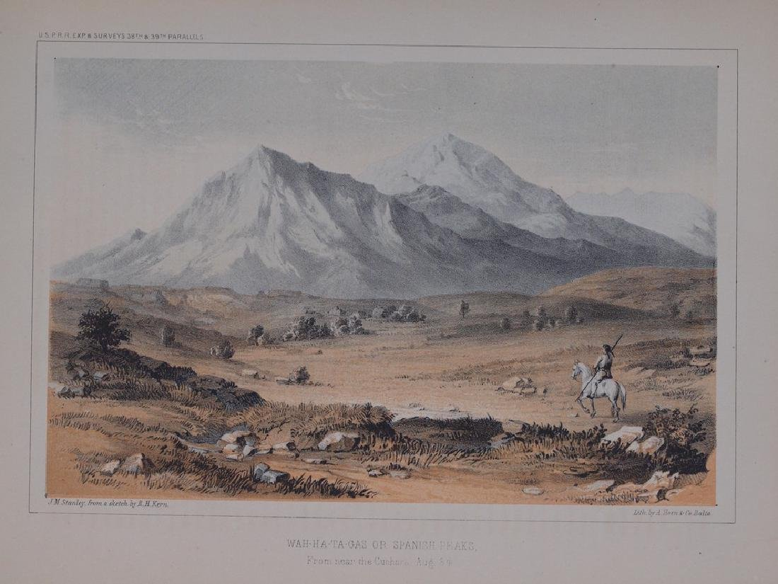 View of Indian riding across the mountains 1860