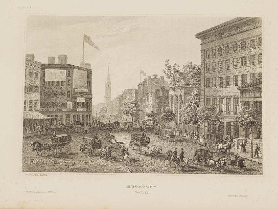 View of Broadway New York 1840 circa Steel etching