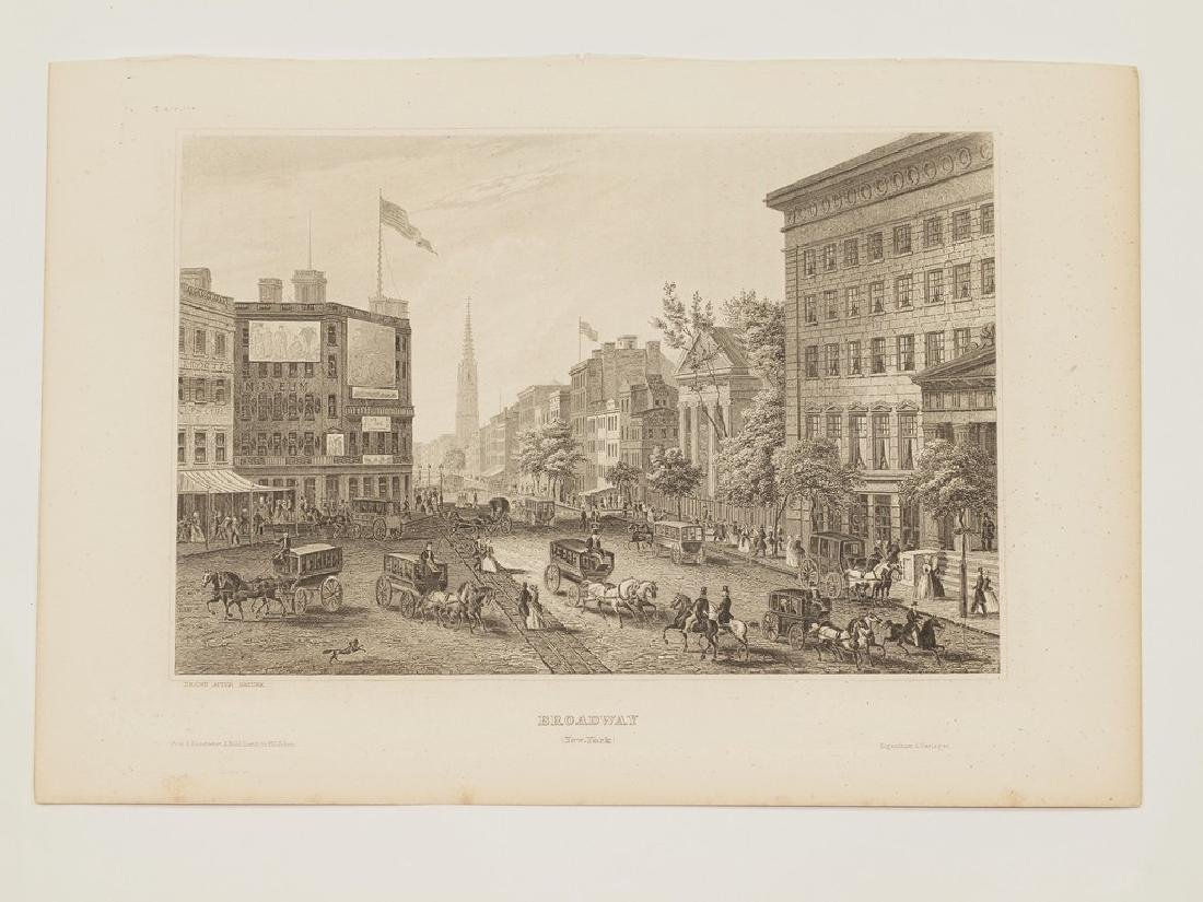 View of Broadway New York 1840 circa Steel etching - 2