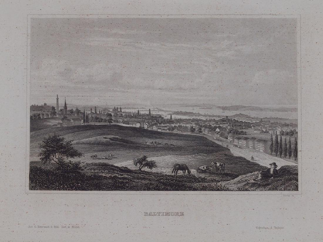 View of Baltimore 1860 Steel etching