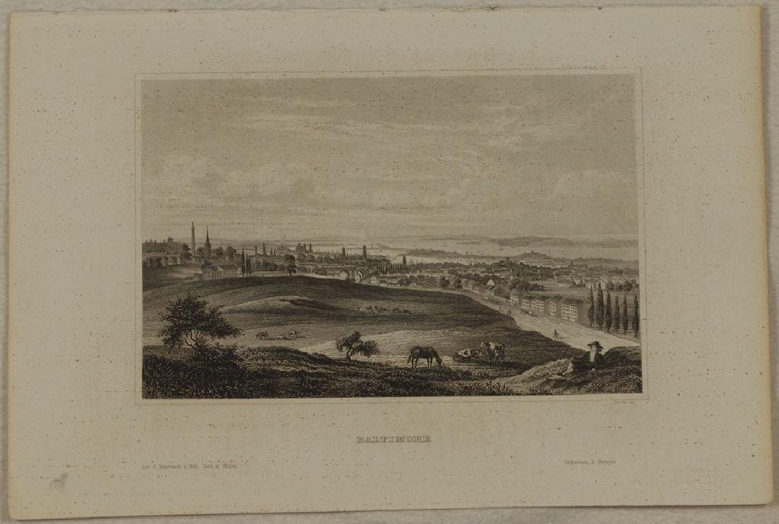 View of Baltimore 1860 Steel etching - 2