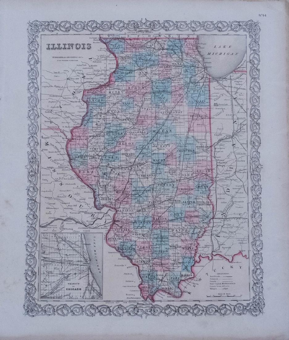 1856 Colton's Map of Illinois -- Illinois