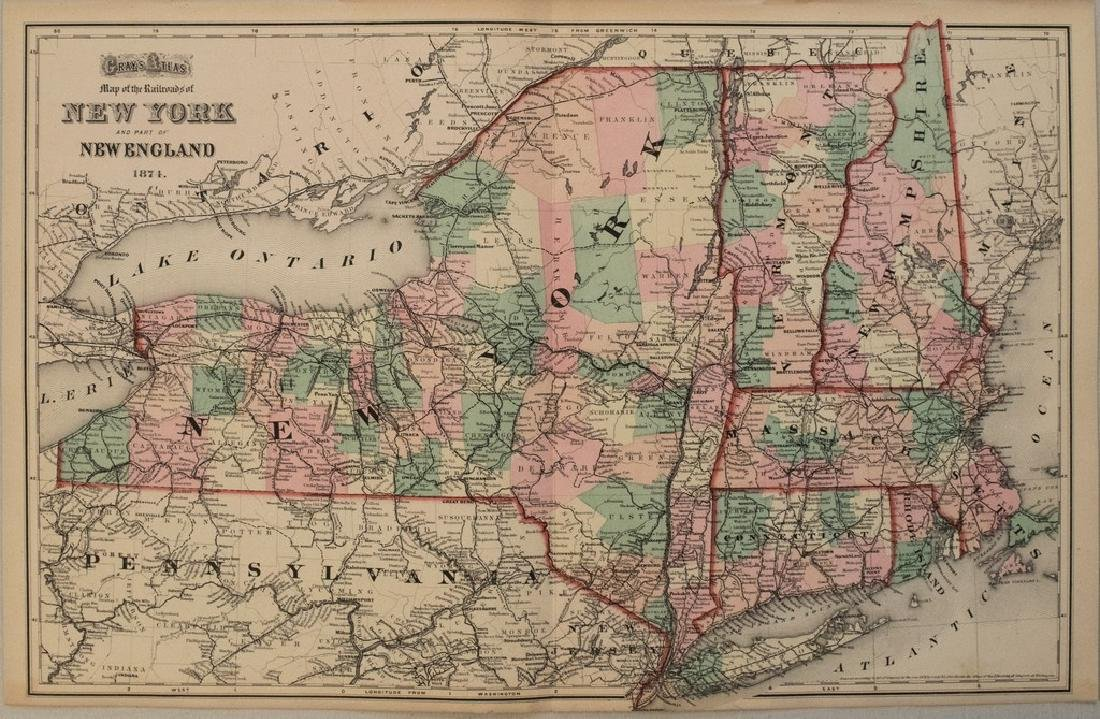 1874 Gray Map of New England -- Map of the Railroads of