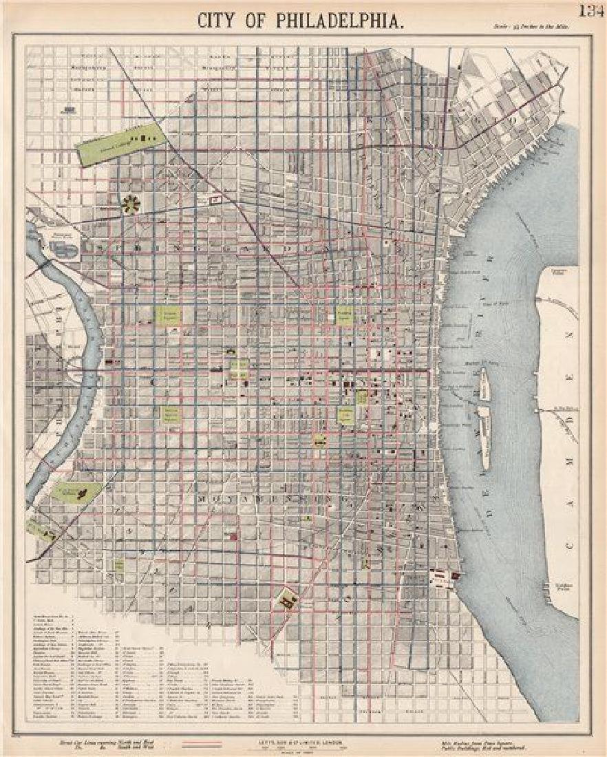 PHILADELPHIA antique town city map plan. Streetcar