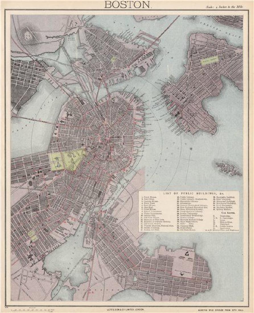 BOSTON antique town city map plan. Charlestown. LETTS,