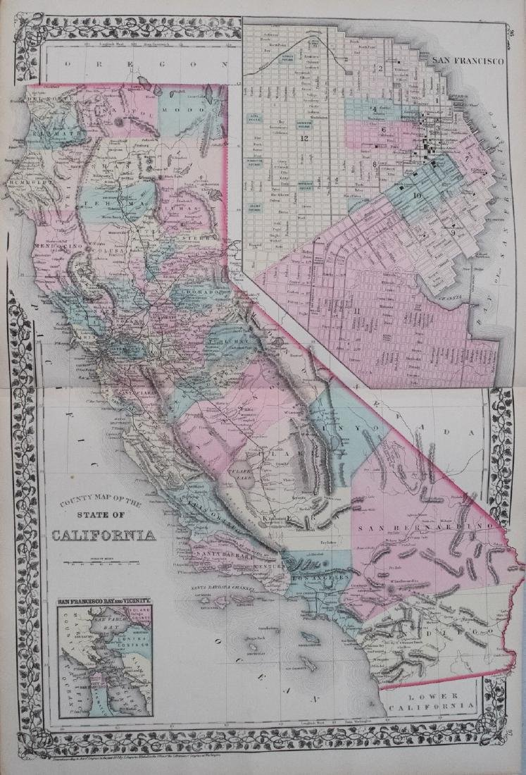 1876 Mitchell Map of California -- County Map of the