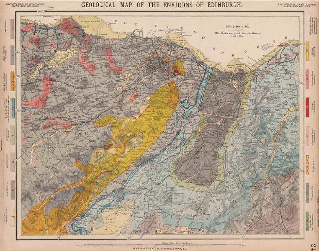 Geological map of the Environs of Edinburgh. Scotland.