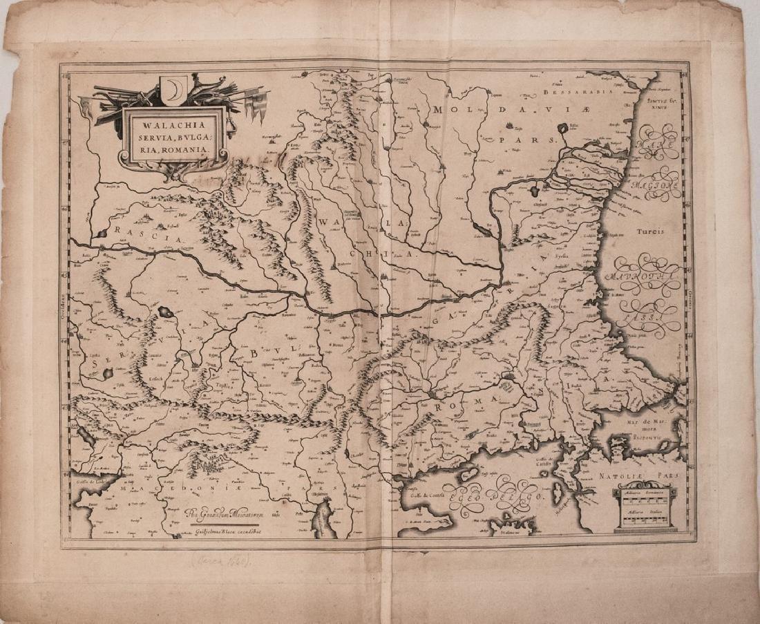 1644 Blaeu Map of Eastern Balkans -- Walachia, Servia,