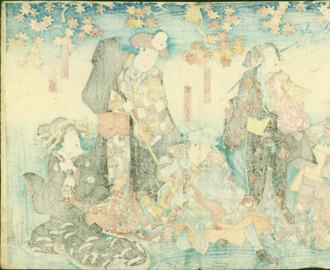 Utagawa Kunisada Woodblock Actors with Noh Mask Hats - 2