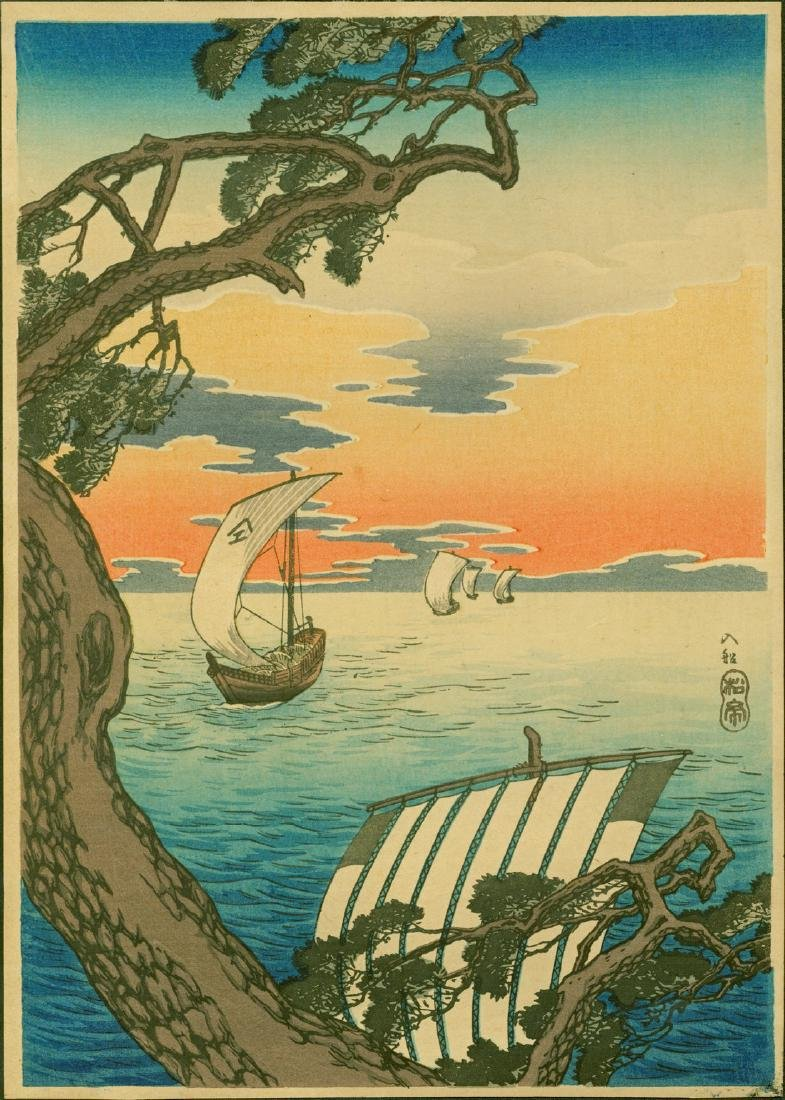 Takahashi Shotei Woodblock Coming Ships