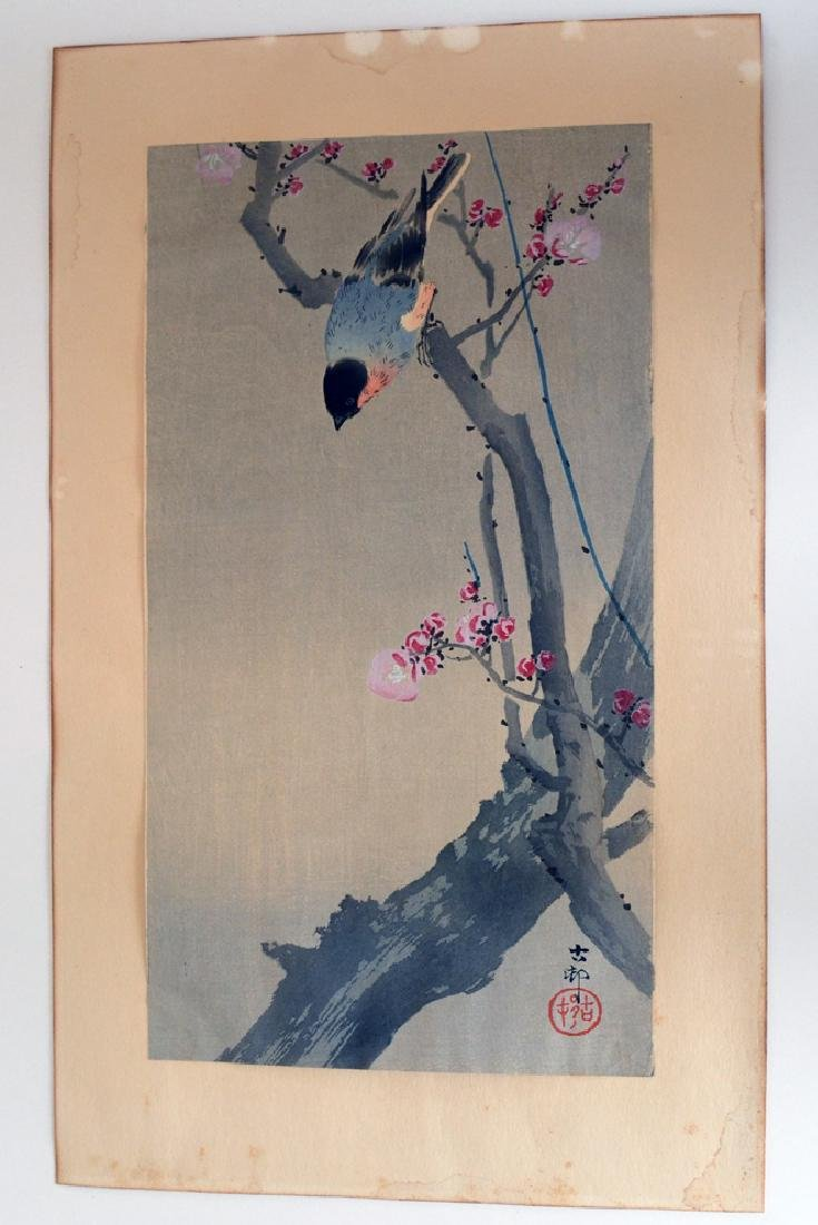Ohara Koson Woodblock Song Bird on Cherry tree