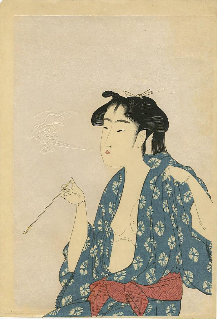 Utamaro Kitagawa Woodblock Woman Smoking a Pipe