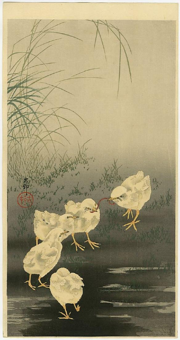 Ohara Koson Woodblock Chicks with Worm