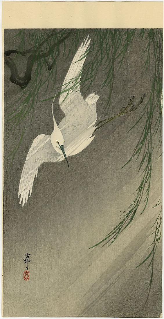 Ohara Koson Woodblock Egret Flying Willow in a Storm