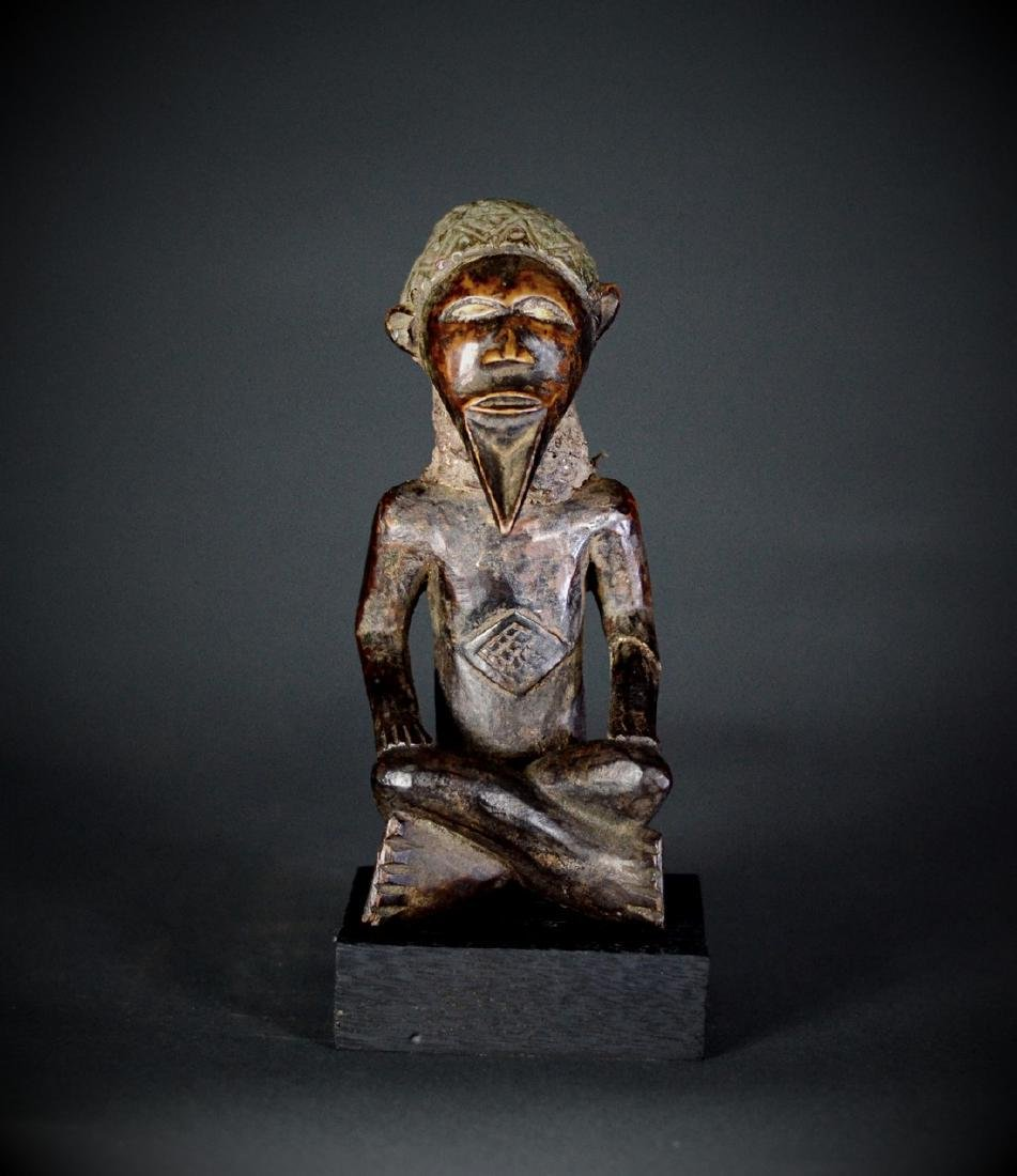 African Tribal Bembe Babembe Male Figure Copper Hat DRC