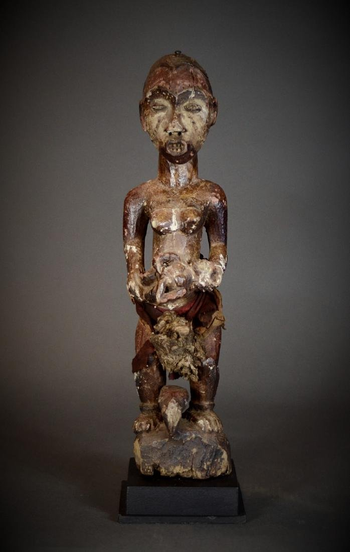 Powerful African Idoma Mother & Child Shrine Figure