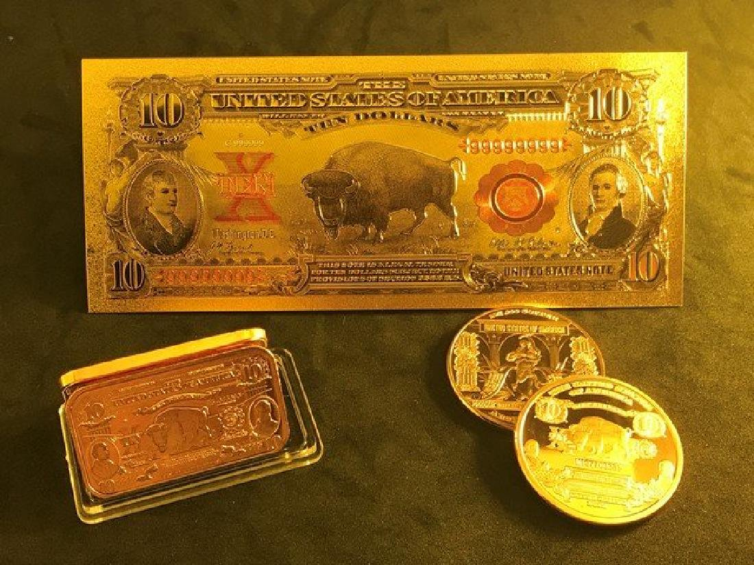 3 Pc Collection Set - $10 Bison Banknote Design Tribute