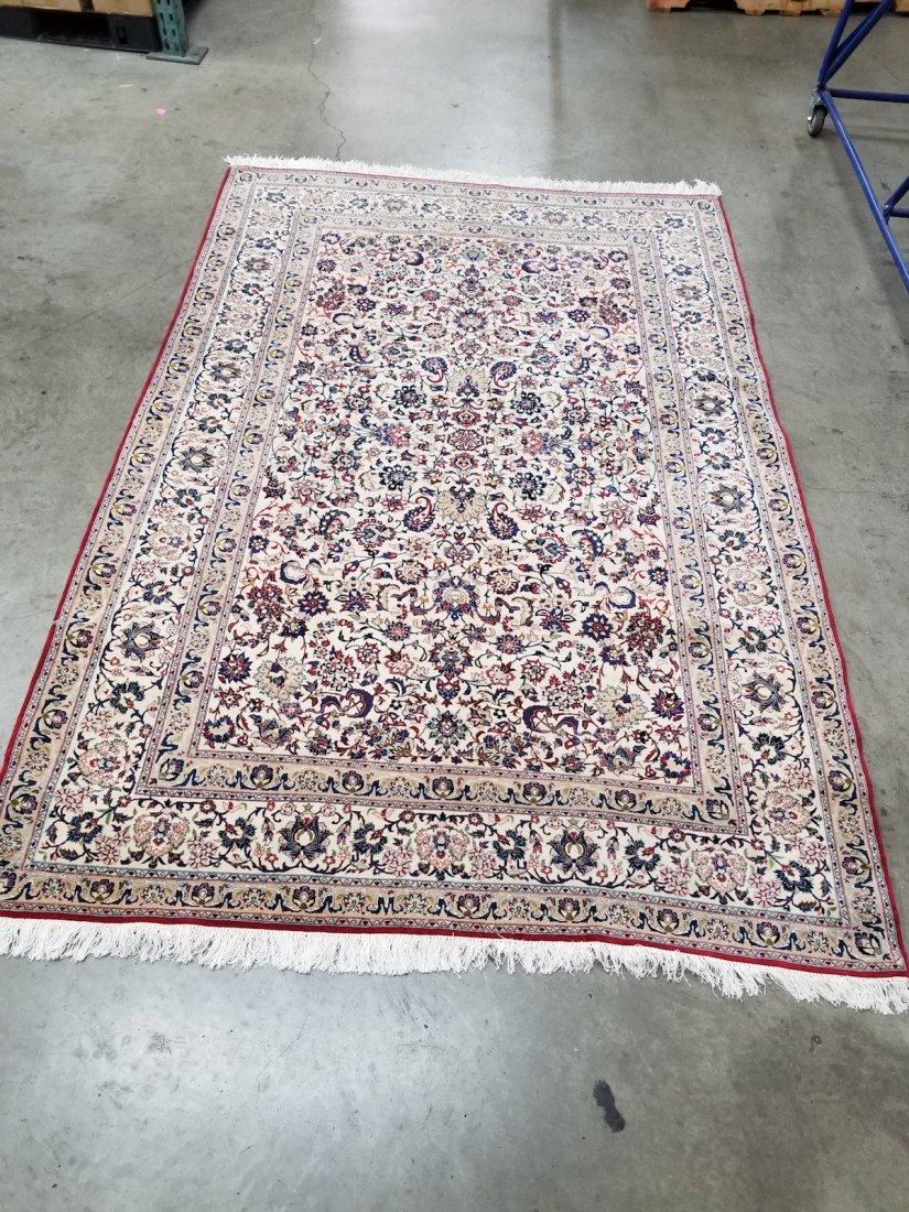 Persian Nain Wool & silk floral hand knotted Rug 5.3x8
