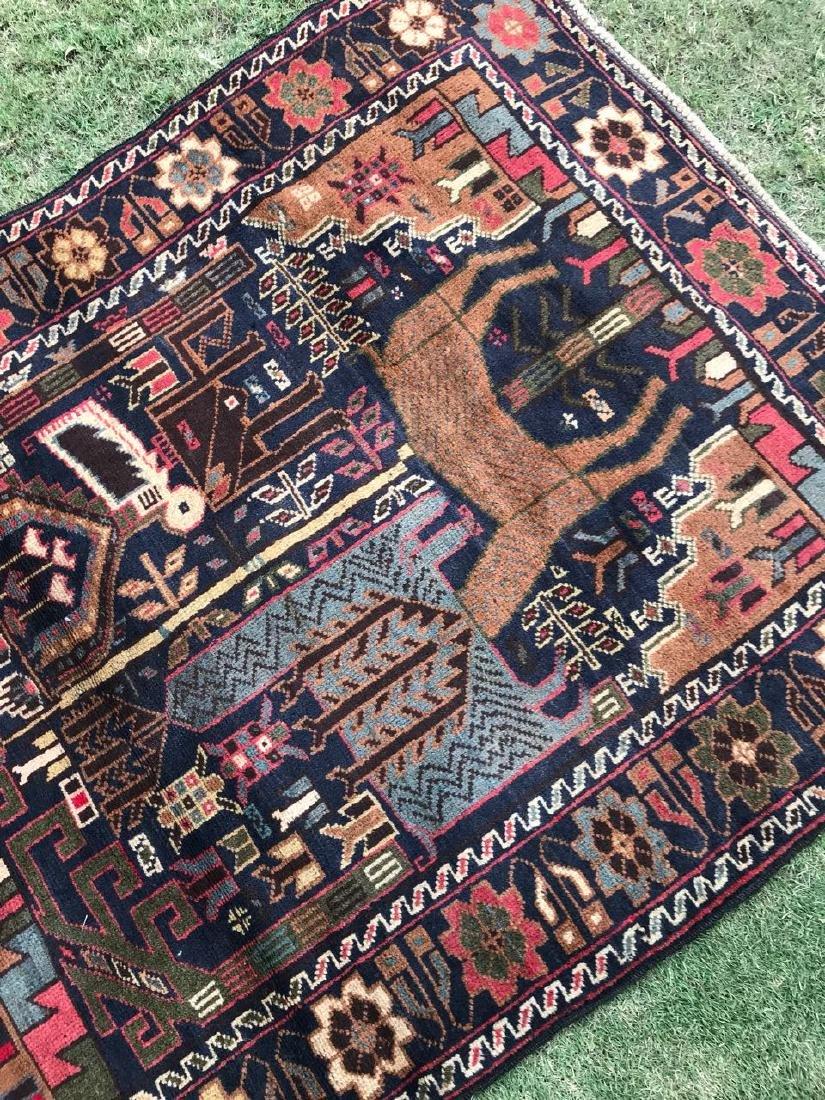 Large Vintage Pictorial Deer Hunting Wool Rug 6.6x3.7 - 4