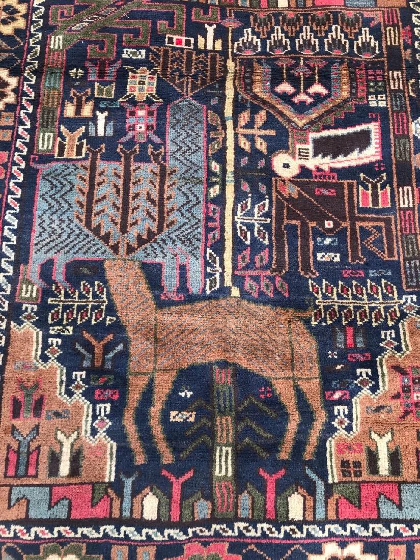 Large Vintage Pictorial Deer Hunting Wool Rug 6.6x3.7 - 5