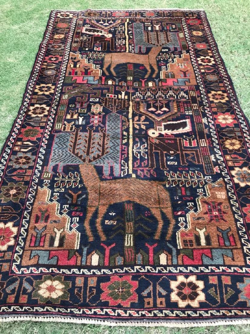 Large Vintage Pictorial Deer Hunting Wool Rug 6.6x3.7 - 6