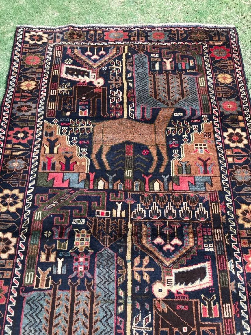 Large Vintage Pictorial Deer Hunting Wool Rug 6.6x3.7 - 7